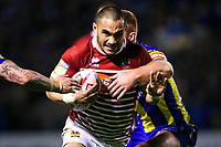 Picture by Alex Whitehead/SWpix.com - 09/03/2017 - Rugby League - Betfred Super League - Warrington Wolves v Wigan Warriors - Halliwell Jones Stadium, Warrington, England - Wigan's Thomas Leuluai is tackled by Warrington's Jack Hughes and Kevin Brown.