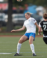Boston Breakers defender Taryn Hemmings (25) heads the ball. In a Women's Premier Soccer League Elite (WPSL) match, the Boston Breakers defeated New England Mutiny, 4-2, at Dilboy Stadium on June 20, 2012.
