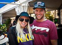 MANLY, NSW/Australia (Sunday, 19 February, 2012) Laura Enever (AUS) with boyfriend Granger Larsen (HAW). – The Australian Open of Surfing at Manly Beach presented by Hurley and Billabong was completed continued  with the Men's ASP 6-Star division, and the Women's ASP 6-Star division decided.  Matt Banting (AUS) defeated Evan Geiselman  (USA)in a tightly fought out the men's final while Sally Fitzgibbons (AUS) defeated Sofia Mulanovich (PRU) in the final women's. Massive crowds packed the beach at Manly today.  Photo: joliphotos.com