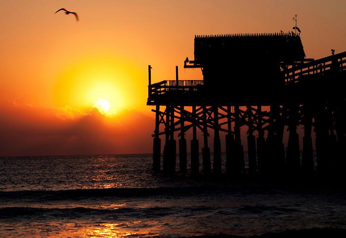 Sun Rises Over the Atlantic Ocean at Cocoa Beach, Florida