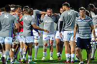 Tom Dunn of Bath Rugby looks on in a pre-match huddle. European Rugby Challenge Cup match, between Pau (Section Paloise) and Bath Rugby on October 15, 2016 at the Stade du Hameau in Pau, France. Photo by: Patrick Khachfe / Onside Images