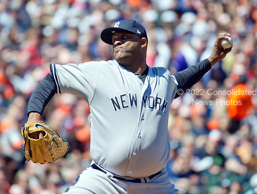 New York Yankees starting pitcher CC Sabathia (52) works in the first inning against the Baltimore Orioles at Oriole Park at Camden Yards in Baltimore, MD on Sunday, April 9, 2017.<br /> Credit: Ron Sachs / CNP<br /> (RESTRICTION: NO New York or New Jersey Newspapers or newspapers within a 75 mile radius of New York City)