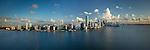 Aerial view of downtown Miami from Biscayne Bay featuring the Brickell financial district.
