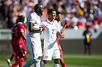 Carson, CA - Sunday, February 8, 2015 Jozy Altidore (17) and Gyasi Zardes (20) of the USMNT celebrate. The USMNT defeated Panama 2-0 during an international friendly at the StubHub Center.