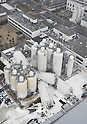 Staff Escape to the Roof of a Beer Factory in Sendai City, Miyagi Prefecture at 3.36pm after a large M8.9 Earthquake Hit Japan on March 11th, 2011.