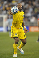 Emilio Renteria forward Columbus Crew grabs the ball as he is whistled for offside... Sporting Kansas City defeated Columbus Crew 2-1 at LIVESTRONG Sporting Park, Kansas City, Kansas.