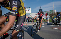 race leaders Greg Van Avermaet (BEL/BMC), Philippe Gilbert (BEL/Quick Step floors) (&amp; Oliver Naesen) in the last kilometers of the race<br /> <br /> 60th E3 Harelbeke (1.UWT)<br /> 1day race: Harelbeke &rsaquo; Harelbeke - BEL (206km)