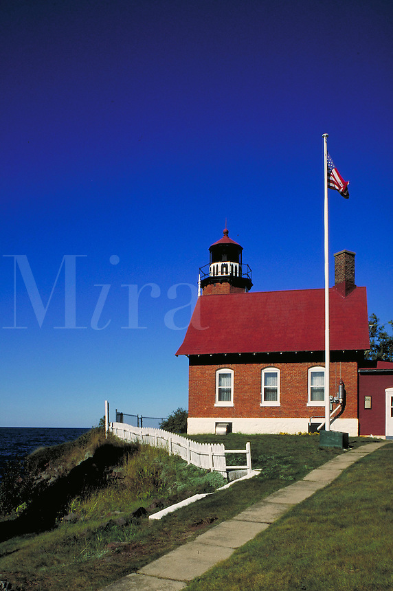 Lighthouse, built in 1871, on the Keweenaw Peninsula at Eagle Harbor on Lake Superior. Eagle Harbor Michigan USA Lake Superior.