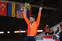 "SHORT TRACK: MOSCOW: Speed Skating Centre ""Krylatskoe"", 15-03-2015, ISU World Short Track Speed Skating Championships 2015, Final Podium Men, World Champion Sjinkie KNEGT (NED), ©photo Martin de Jong"
