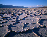 CADDV 003 -   Polygonal patterns in huge salt pan on floor of Death Valley are accentuated by afternoon light, Panamint Mountains rise in the distance, Death Valley National Park, California, USA --- (4x5 inch original, File size: 6086x4800, 83.6mb uncompressed)   .