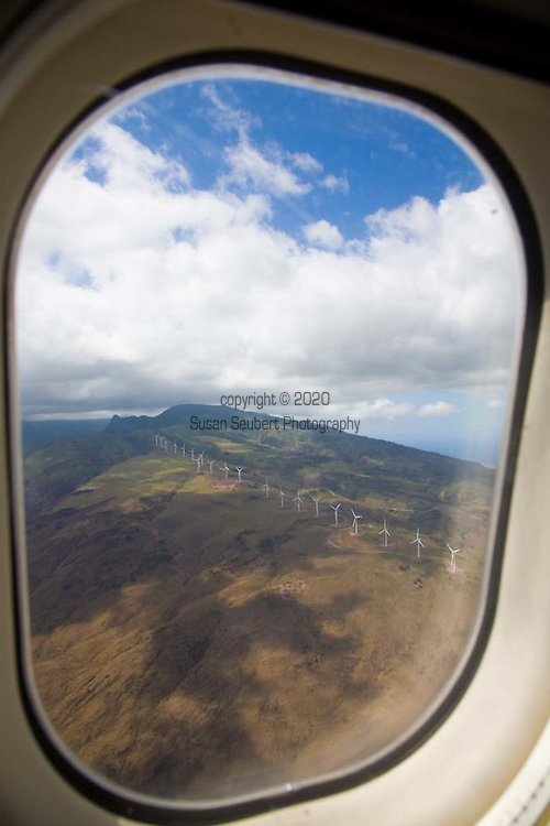 The view of the Kaheawa Wind Farm on the West Maui Mountains is the first wind farm in the United States to complete a Habitat Conservation Plan for species protection.