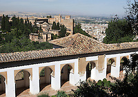 The Generalife, 13th century, redecorated by the king Abu I-Walid Isma'il (1313-1324), with the Alhambra and the Albaizin in the distance, Granada, Andalusia, Spain. Picture by Manuel Cohen