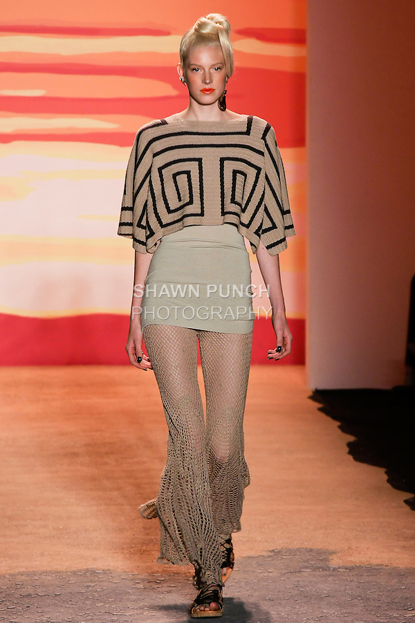 Quinta walks the runway in an outfit by Jen Kao, for the Jen Kao Spring Summer 2012 collection show, during Mercedes-Benz Fashion Week Spring 2012.
