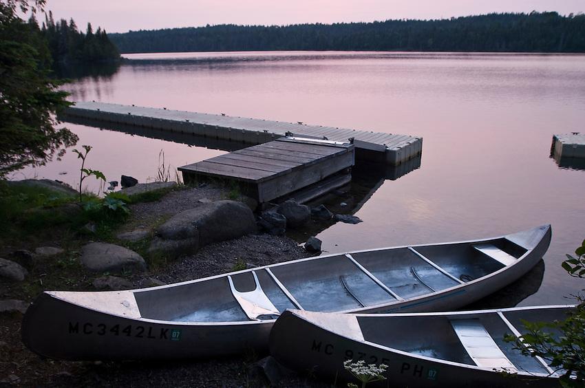 Canoes at Tobin Harbor at Isle Royale National Park.
