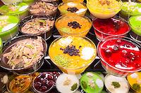 Turkish sweet desserts Zerde jelly fruits nuts at Turk Edebiyati Dergisi (Edebiyat Kiraathanesi) cafe tearooms, Istanbul, Turkey