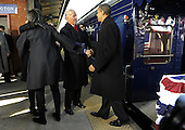Wilmington, DE - January 17, 2009 -- United States President-elect Barack Obama (R) greets Vice President Joe Biden as Obama's wife, Michelle (L), hugs Biden's wife, Jill, as the Obamas pick up the Bidens in Wilmington, Delaware, on the Whistle Stop Train Tour, on Saturday, January 17, 2009. The ceremonial trip will carry President-elect Obama, Vice President-elect Biden and their families to Washington for their inaugurations with additional events in Philadelphia, Wilmington and Baltimore. Obama will be sworn in as the 44th President of the United States on January 20, 2009. .Credit: Kevin Dietsch - Pool via CNP