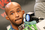 September 29, 2011; Washington D.C.; USA; Demetrius Johnson speaks at the final press conference for his upcoming bout against Dominick Cruz at UFC on Versus 6.