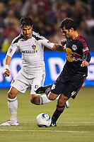 New York Red Bulls defender Rafael Marquez (4) battles with LA Galaxy forward Juan Pablo Angel (9). The LA Galaxy and Red Bulls of New York played to a 1-1 tie at Home Depot Center stadium in Carson, California on  May 7, 2011....