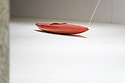 """London, UK. 03.03.2015. Artist Roman Signer's exhibition """"Slow Movement"""", a new installation using a kayak, opens in the Curve Gallery, Barbican. Photograph © Jane Hobson."""