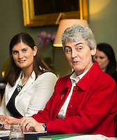 02/04/2015<br /> (L to R) <br /> Aoife Clarke Head of Communications LIDL Ireland,<br /> Sister Helen Culhane LIDL Local Hero Award Winner, Pride of Ireland Awards 2014<br /> during the Pride of Ireland judging day in the Mansion House, Dublin.<br /> Photo:  Gareth Chaney Collins
