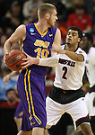 Louisville Quentin Snider (2)  guards Northern Iowa State Seth Tuttle (10) during the 2015 NCAA Division I Men's Basketball Championship's March 22, 2015 at the Key Arena in Seattle, Washington.  Louisville beat Northern Iowa State 66-53 to advance to the Sweet 16.  ©2015. Jim Bryant Photo. ALL RIGHTS RESERVED.