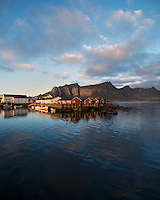 Traditional Rorbu fishermen cabins at Hamnøy, Lofoten islands, Norway