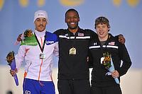 SCHAATSEN: SALT LAKE CITY: Utah Olympic Oval, 16-11-2013, Essent ISU World Cup, podium 1000m, Kjeld Nuis (NED), Shani Davis (USA), Brian Hansen (USA), ©foto Martin de Jong