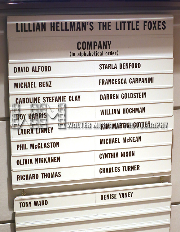 Lobby cast board for the Broadway Opening Night performance for 'The Little Foxes' starring Cynthia Nixon and Laura Linney at Samuel J. Friedman Theatre on April 19, 2017 in New York City.