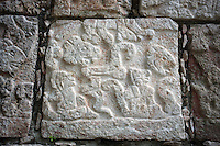 Detail of reliefs carved on the south wall of the colonnade of the Temple of sculpted panels and lintel, 750-900 AD, Chichen Itza, Yucatan, Mexico. Picture by Manuel Cohen