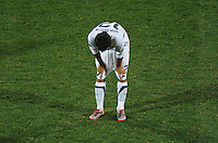 A dejected Jonathan Bornstein of USA. Ghana defeated the USA 2-1 in overtime in the 2010 FIFA World Cup at Royal Bafokeng Stadium in Rustenburg, South Africa on June 26, 2010.