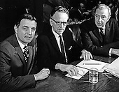 Harry A. Blackmun, center, United States President Richard M. Nixon's third nominee to be Associate Justice of the U.S. Supreme Court following the resignation of Associate Justice Abe Fortas is shown as he prepares to be introduced to testify before the U.S. Senate Judiciary committee on Wednesday, April 29, 1970.  At left is U.S. Senator Walter Mondale (Democrat of Minnesota), left, and U.S. Senator Eugene McCarthy (Democrat of Minnesota), right. Blackmun was confirmed by the Senate on May 12, 1970 and served until his resignation on August 3, 1994..Credit: Arnie Sachs / CNP
