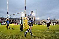 George Ford of Bath Rugby runs out onto the field for the second half. Aviva Premiership match, between Bath Rugby and Exeter Chiefs on December 31, 2016 at the Recreation Ground in Bath, England. Photo by: Patrick Khachfe / Onside Images