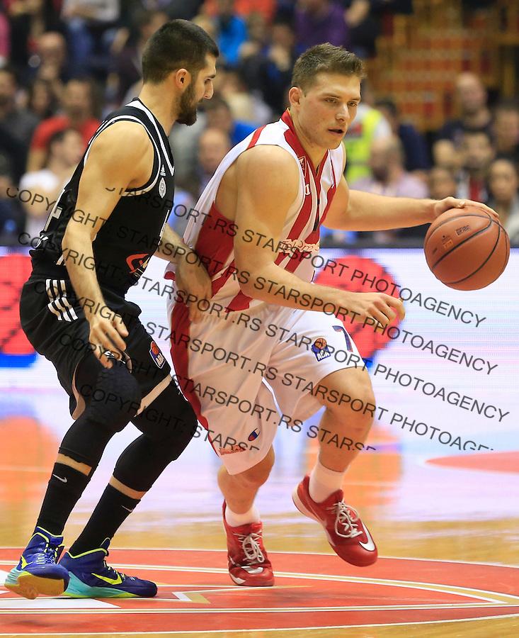Kosarka ABA League season 2015-2016<br /> Crvena Zvezda v Partizan<br /> Gal Mekel and Aleksandar Cvetkovic (L)<br /> Beograd, 03.11.2015.<br /> foto: Srdjan Stevanovic/Starsportphoto&copy;