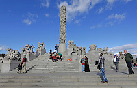 The Vigeland Sculpture Arrangement (sometimes incorrectly referred to as the Vigeland Park), covers 80 acres (320,000 m2) and features 212 bronze and granite sculptures all designed by Gustav Vigeland..Most of the statues depict people engaging in various typically human pursuits, such as running, wrestling, dancing, hugging, holding hands and so on. However, Vigeland occasionally included some statues that are more abstract, including one statue, which shows an adult male, fighting off a horde of babies.