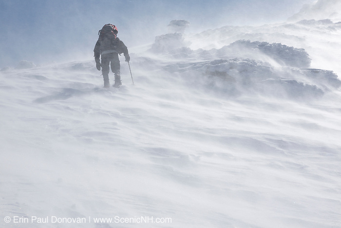 A winter hiker ascends the Airline Trail in extreme weather conditions during the winter months in the White Mountains, New Hampshire USA