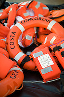 Island of Giglio, Italy, January 15, 2012. I giubetti salvagente utilizzati per abbandonare la nave Concordia..Life jackets used to abandon the cruise ship Costa Concordia lies at the Giglio port.