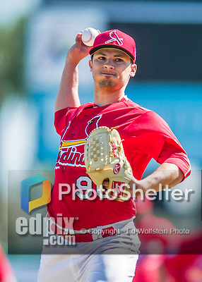 6 March 2016: St. Louis Cardinals pitcher Arturo Reyes warms up prior to a Spring Training pre-season game against the Washington Nationals at Roger Dean Stadium in Jupiter, Florida. The Nationals defeated the Cardinals 5-2 in Grapefruit League play. Mandatory Credit: Ed Wolfstein Photo *** RAW (NEF) Image File Available ***