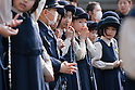 April 11, 2011, Kamakura, Japan - A group of young Japanese girls are seen praying during a special commemorative event at Hachimangu Shrine to offer prayers for the relief of the March 11 earthquake and tsunami victims. Today is exactly one month since the devastating disaster that left Tohoku with almost nothing to spare. (Photo by Christopher Jue/AFLO) [2331].