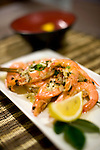 A plate of garlic sauteed king prawns is served at Ezo Seafood restaurant in Hirafu in the Niseko ski region of Hokkaido, Japan on Feb. 7 2010.