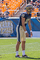 Pitt punter Ryan Winslow. The Akron Zips Defeated the Pitt Panthers 21-10 at Heinz Field, Pittsburgh. Pennsylvania on September 27, 2014.