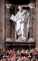 Statue Mosè  Basilica  at St. John in Lateran Basilica in Rome.Pope Benedict XVI during the Holy Thursday rite of the washing feet, in St. John in Lateran Basilica in Rome...March 20, 2008.. .