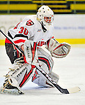 2 January 2009: St. Lawrence Saints' goaltender Alex Petizian, a Junior from Kirkland, Quebec, in action against the Ferris State Bulldogs in the first game of the 2009 Catamount Cup Ice Hockey Tournament hosted by the University of Vermont at Gutterson Fieldhouse in Burlington, Vermont. The Saints defeated the Bulldogs 5-4 to move onto the championship game against the University of Vermont Catamounts...Mandatory Photo Credit: Ed Wolfstein Photo