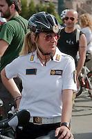 Roma 28 Aprile 2012.Bicifestazione nazionale Salvaiciclisti ai Fori Imperiali. Iniziativa promossa per sensibilizzare sui rischi corsi da chi usa la bicicletta e invitare gli amministratori a rendere la città più idonea alla due ruote. Polizia Municipale in bicicletta