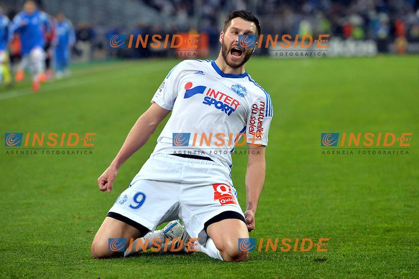 2eme But Andre Pierre Gignac (om) <br /> Football Calcio 2014/2015<br /> Ligue 1 Francia Stadio VelodromeOlympique Marsiglia - Paris Saint Germain <br /> Foto Panoramic / Insidefoto <br /> ITALY ONLY