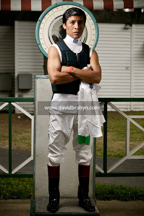 Jockey Edgar Prado poses for the photographer at the race track in Saratoga Springs, NY, USA, 14 August 2006.