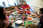 The Ferrells eat dinner at their home in Lincoln, CA May 13, 2009.