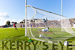 Kenmare's Paul O'Connor slots the first penalty into the corner of the net as Templenoe Keeper Anthony Sheehan dives to the other during the County Intermediate Championship final in Fitzgerald Stadium on Sunday