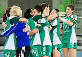 Players of Gyori   celebrate after the handball match between RK Krim Mercator and Gyori Audi ETO KC (HUN) in 3rd Round of Group B of EHF Women's Champions League 2012/13 on October 28, 2012 in Arena Stozice, Ljubljana, Slovenia. Gyori defeated Krim Mercator 31-20. (Photo By Vid Ponikvar / Sportida)