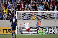 Luke Rodgers (9) of the New York Red Bulls celebrates scoring during the first half of a Major League Soccer (MLS) match against Sporting Kansas City at Red Bull Arena in Harrison, NJ, on April 30, 2011.