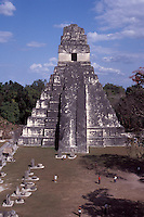 Temple I or Temple of the Grand Jaguarand the Great Plaza at the Mayan ruins of Tikal, Guatemala